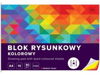 Blok rysunkowy kolorowy A4 10k. INTERDRUK Barwiony w masie