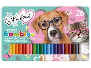 Kredki BAMBINO w oprawie drewnianej 26 kolorów +temp. metalowe pude³ko My Little friend