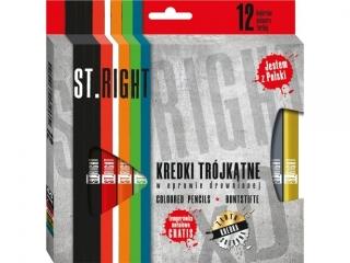 Kredki trójk±tne  w oprawie drewnianej  12 kolorów + temperówka ST.RIGHT