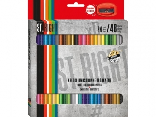 Kredki szkolne trójk±tne dwustronne 24/48 kolorów + temperówka ST.RIGHT [opakowanie=8szt]