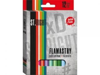 Flamastry ST.RIGHT 12 kolorów