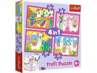 """Puzzle   """"4w1"""" TREFL Lamy na wakacjach"""