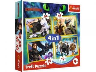 """Puzzle   """"4w1"""" TREFL Jak wytresowaæ smoka"""