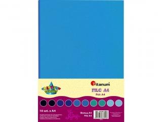 Filc TITANUM A4 10szt. 2mm (200g) -  tonacja niebieska