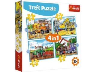 """Puzzle   """"4w1"""" TREFL Du¿e maszyny budowlane"""