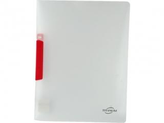 Skoroszyt PP Titanum A4 pó³przezroczysty czerwony klip (SKPRE)