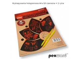 WYDRAPYWANKA HOLOGRAMOWA A4 a10  CZERWONA + 2 rylce