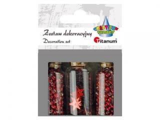 Zestaw dekoracyjny TITANUM Koraliki i konfetti, czerwony