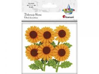 Naklejka filcowa TITANUM Kwiaty 3D 6cm 6szt.