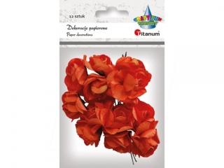Ró¿yczki papierowe na druciku TITANUM Pomarañczowe 12szt.