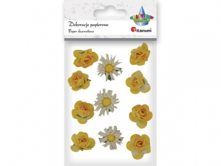 Ozdoba papierowa TITANUM Papierowe kwiatki na druciku 2cm 11