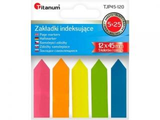 Zak³adki indeksuj±ce TITANUM papierowe 12x44mm 5 kolorów fluo STRZA£KI