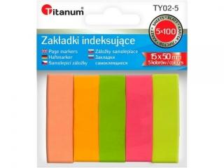Zak³adki indeksuj±ce TITANUM papierowe 15x50mm 5 kolorów fluo