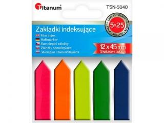Zak³adki indeksuj±ce TITANUM PP 12x45mm 5 kolorów fluo STRZA£KI