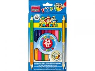 Kredki o³ówkowe FLAMINGO dwustronne 24 kolory z temperówk±
