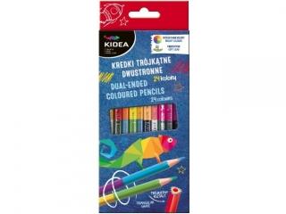 Kredki KIDEA trójk±tne dwustronne 24 kolory