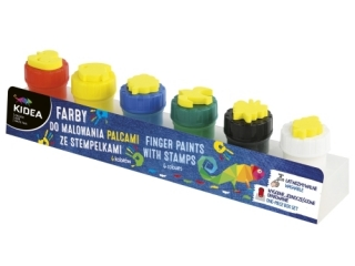 Farby do malowania palcami ze stempelkami KIDEA 6szt.