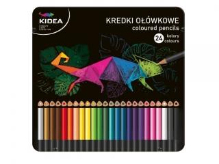 Kredki trójk±tne KIDEA w metalowym pude³ku 24 kolory