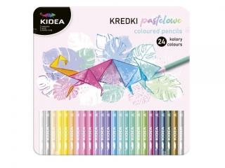 Kredki KIDEA pastelowe trójk±tne w metalowym pude³ku 24 kolory