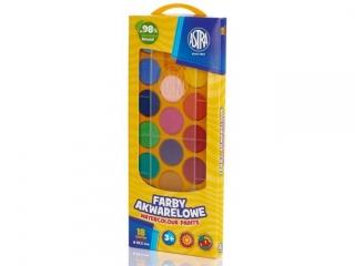 Farby akwarelowe ASTRA 18 kolorów - fi 23,5 mm w pude³ku