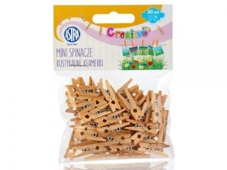 Mini spinacze drewniane 50 sztuk - Rustykalne klamerki [ opa