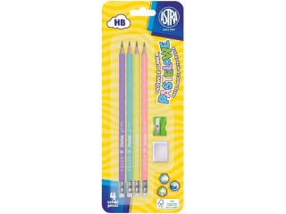 O³ówki ASTRA pastelowe HB z miark± 4szt, + gumka i temperówk