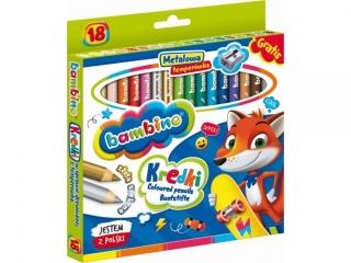 Kredki Grube Bambino 18 kolorów + temperówka