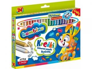 Kredki Grube Bambino  24 kolory + temperówka