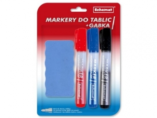 Markery do tablic 3 szt. + g±bka 0693