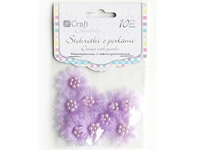 Kytičky s perličkami DPCraft, 10 kusů - fialové