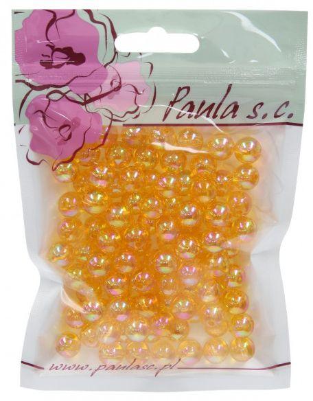 Korálky 10 mm - průhledné, oranžové