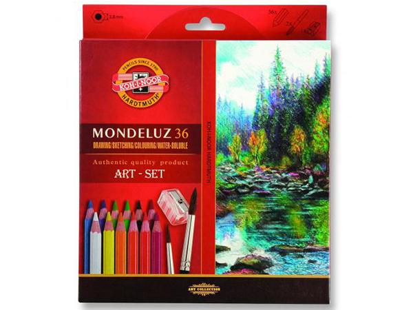 Pastelky KOH-I-NOOR Mondeluz 36 barev + štětec (3712)