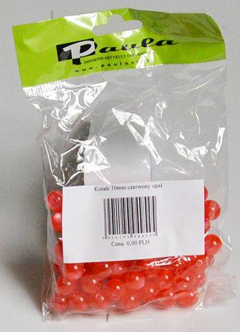 Korálky 10 mm - opálově červené