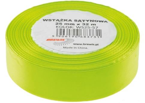 Saténová stuha 32 mm, 25 m, zelená neon