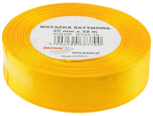 Saténová stuha 32 mm, 25 m, žlutá