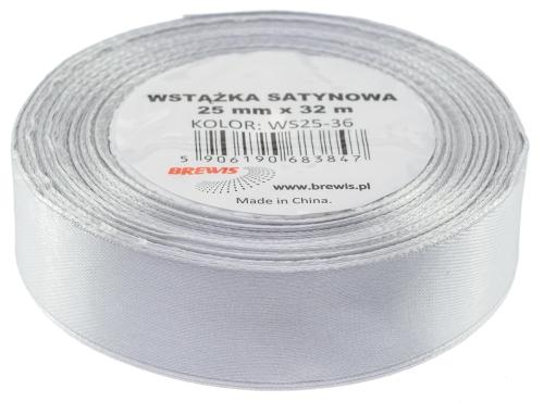 Saténová stuha 32 mm, 25 m, stříbrná