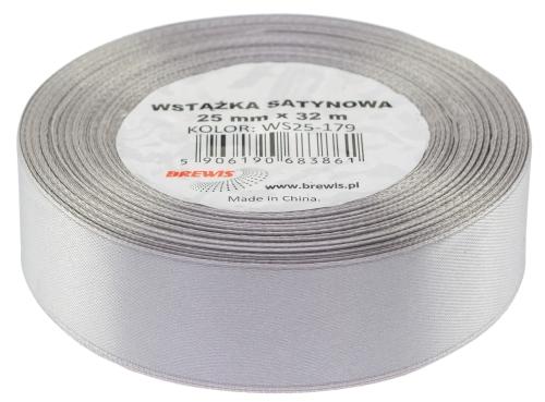 Saténová stuha 32 mm, 25 m, šedá