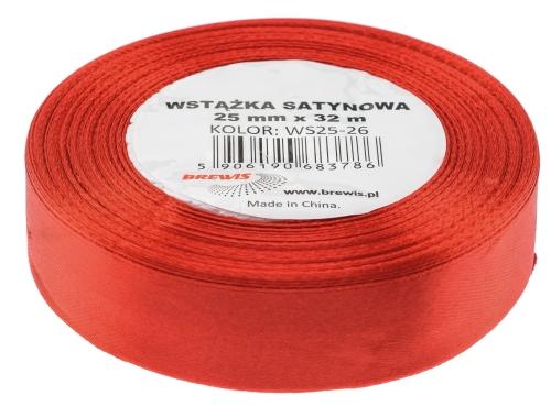 Saténová stuha 32 mm, 25 m, červená