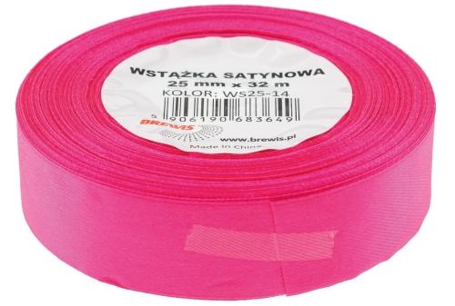 Saténová stuha 32 mm, 25 m, neon růžová