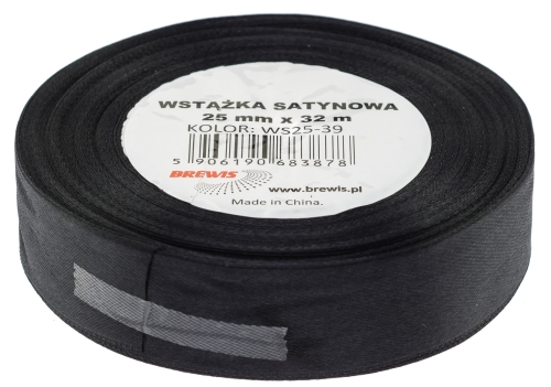 Saténová stuha 32 mm, 25 m, černá