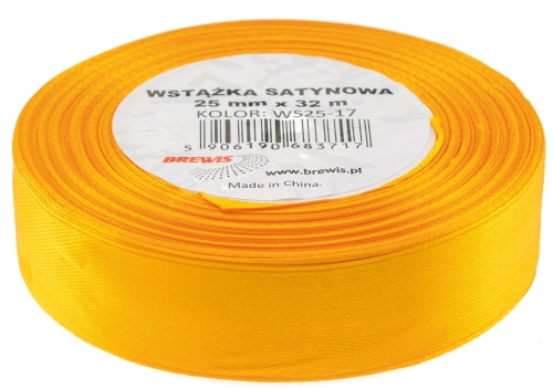 Saténová stuha 32 mm, 25 m, jasně oranžová