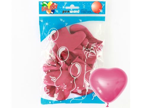 Balónky tmavě růžová srdce PENWORD  - 10ks