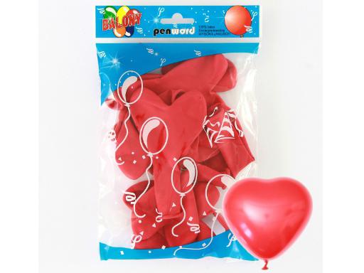 Balónky červená srdce PENWORD  - 10ks