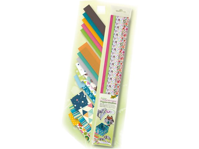 Papírové proužky na quilling 168 ks, různé šířky