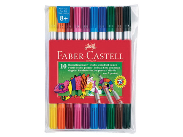 Oboustranné fixy Faber Castell - 10 kusů barev