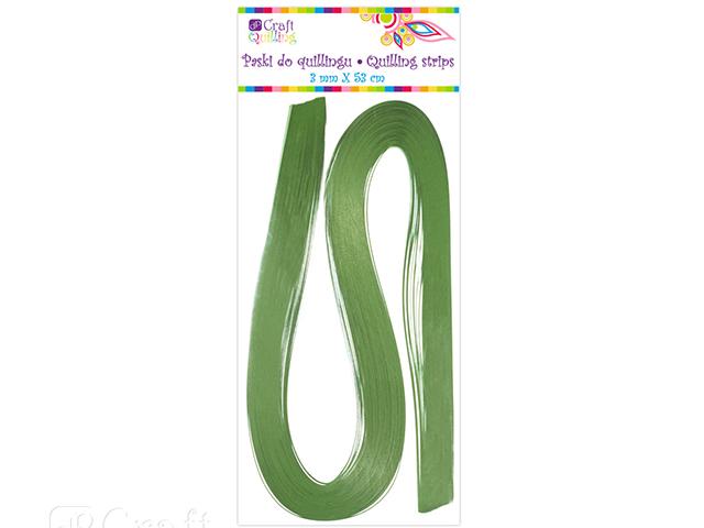 Papírové proužky na quilling 100ks zelené š. 3 mm