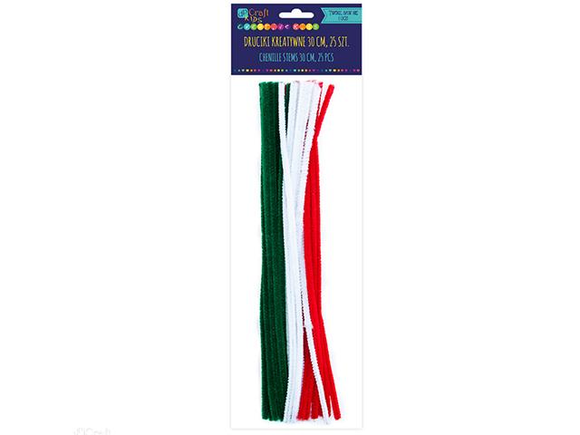 Kreativní chlupaté drátky 30 cm, 25ks - červené, bílé, zelené