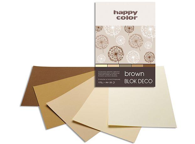 Blok barevných papírů A5, Happy Color 170g, 5 barev - hnědé odstíny