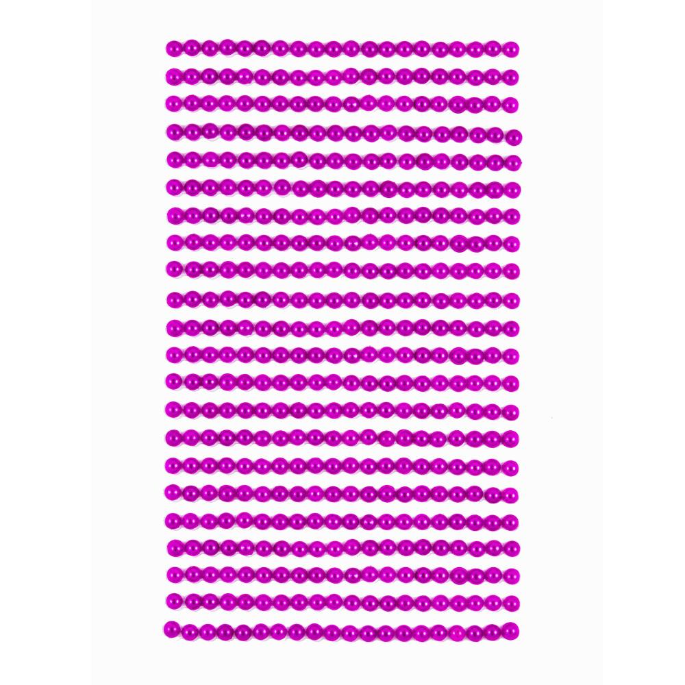 Perličky samolepicí 4 mm, 440 ks - tmavě růžové