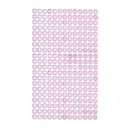 Krystalky samolepicí, 6 mm, 260 kusů - světle růžové